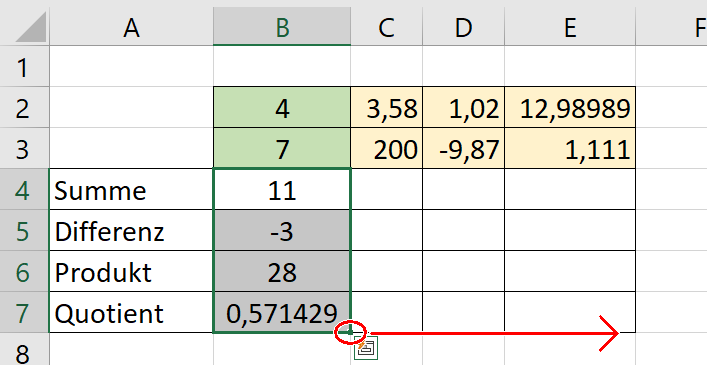 Tabellenkalkulation Formeln
